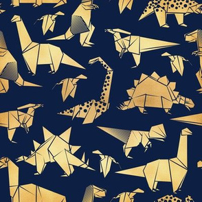 Small scale // Origami metallic dino friends // navy blue background golden dinosaurs