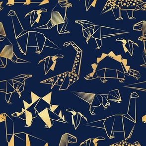 Small scale // Origami metallic dino friends // navy blue background golden lined dinosaurs