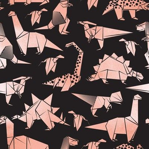 Small scale // Origami metallic dino friends // black background metal rose dinosaurs