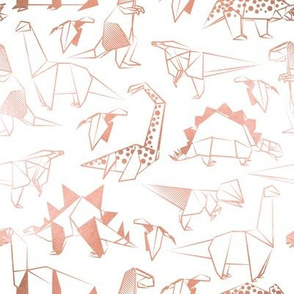 Small scale // Origami metallic dino friends // white background metal rose lined dinosaurs
