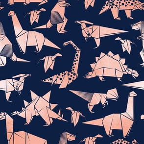 Small scale // Origami metallic dino friends // navy blue background metal rose dinosaurs