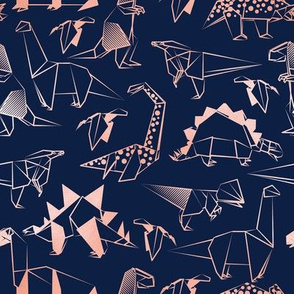 Small scale // Origami metallic dino friends // navy blue background metal rose lined dinosaurs