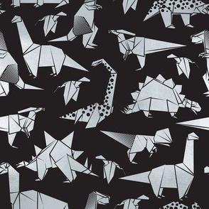 Small scale // Origami metallic dino friends // black background silver dinosaurs