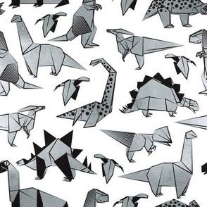 Small scale // Origami metallic dino friends // white background silver dinosaurs