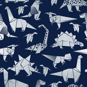 Small scale // Origami metallic dino friends // navy blue background silver dinosaurs