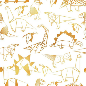 Normal scale // Origami metallic dino friends // white background golden lined dinosaurs