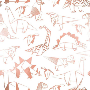 Normal scale // Origami metallic dino friends // white background metal rose lined dinosaurs