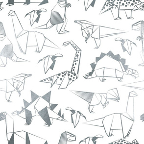 Normal scale // Origami metallic dino friends // white background silver lined dinosaurs