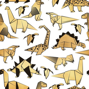 Normal scale // Origami metallic dino friends // white background golden dinosaurs