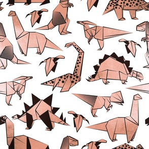 Normal scale // Origami metallic dino friends // white background rose metal dinosaurs