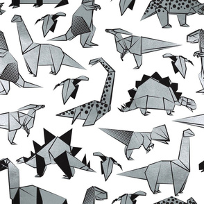 Normal scale // Origami metallic dino friends // white background silver dinosaurs