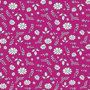 Fiori di Mimi's Meadow - White on boysenberry maroon, small