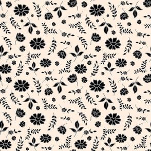 Fiori di Mimi's Meadow - Black on cream beige, small