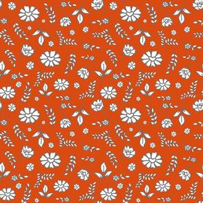 Fiori di Mimi's Meadow - White on pumpkin orange, small