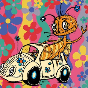 that '70s bug, or a bug in a bug, large scale, blue pink red yellow green lavender