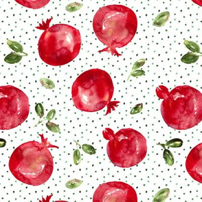 Watercolor pomegranates with dots