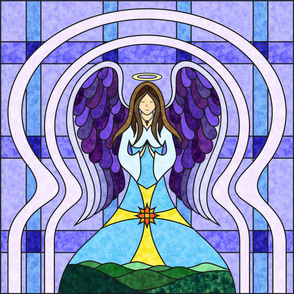 Praying Angel Stained Glass Quilt Panel - Purple / Blue 54 Inch