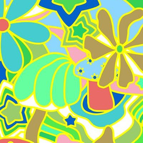70's Psychedelic Garden in Lime + White