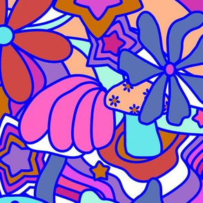 70's Psychedelic Garden in Pink + White