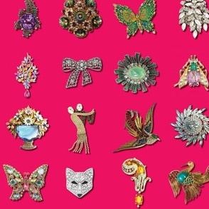 Jeweled Brooches on Hot Pink