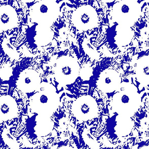 Indigo and White Poppy Print