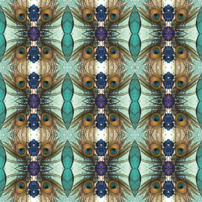 peacock tail feather turquoise violet candy kaleidoscope medium