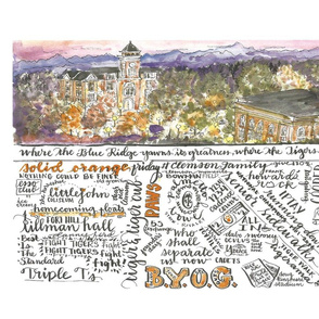 Clemson South Carolina handlettered watercolor tea towel