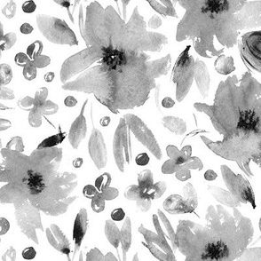 Noir sweet spring • watercolor flowers in shades of grey