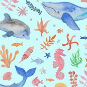 Whimsical Sea Theme Turquoise (Jumbo Scale)