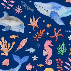 Whimsical Sea Theme Dark Blue (Jumbo Scale)