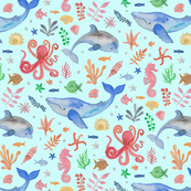 Whimsical Sea Theme Turquoise Ground (Medium Scale)