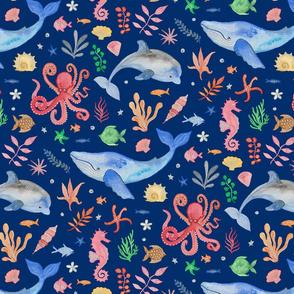 Whimsical Sea Theme Dark Blue (Medium Scale)