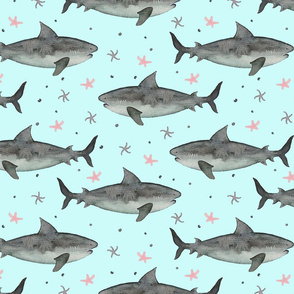 Watercolour Sharks Turquoise Ground (Medium Scale)