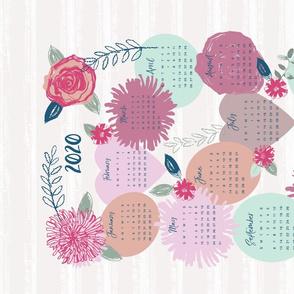 flower wreath 2020 calender tea towel