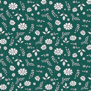 Fiori di Mimi's Meadow - White on forest green, small