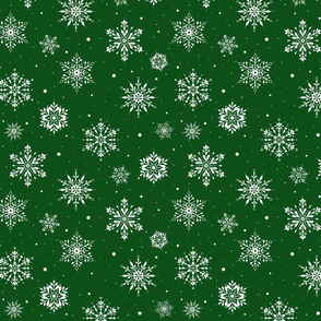 Christmas Folk Snowflakes2 Green-SM