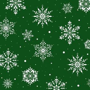 Christmas Folk Snowflakes2 Green