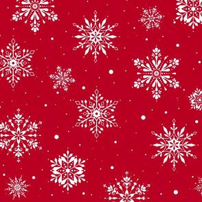 Christmas Folk SnowflakesV2 Red