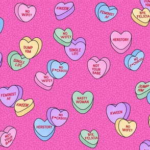 Valentine Candy Hearts in Pink, Full