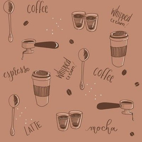 Barista Brown and White Espresso Coffee Print