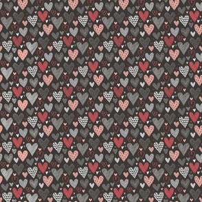 Hearts Geometric Love Valentine Red on Black Very Tiny Small
