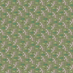 Forest Woodland Moose & Trees on Dark Green Tiny Small Rotated