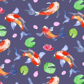 koi fish in the lily pond