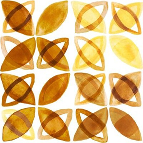 70's Watercolor Pattern - Mustard - Large Version