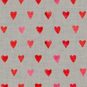 Scarlet Hearts on Cloud Gray Linen