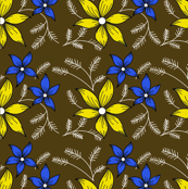 Floral pattern on Chocolate Brown 3c