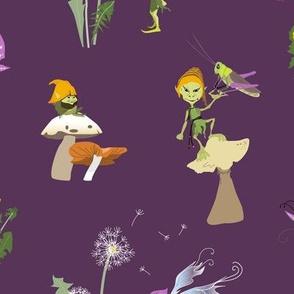 pixies in dandelion garden - dark purple