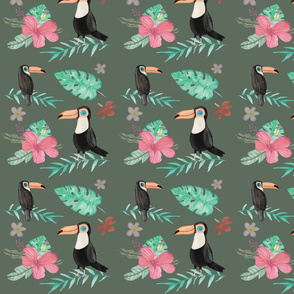 Tropical Green with Toucan