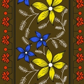 Floral pattern_double border_chocolate Brown 2c