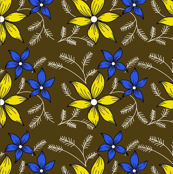 Floral pattern on Chocolate Brown 3c-ed